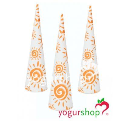 Cono de papel para helados modelo Soles Naranja 2000 uds